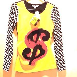 DVF x Andy WARHOL Dollar Sign Chain Link Tee Shirt